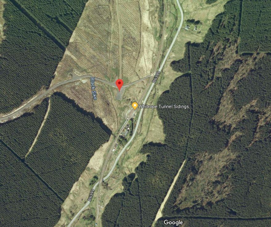 Satellite image showing location of Whitrope Heritage Centre carpark
