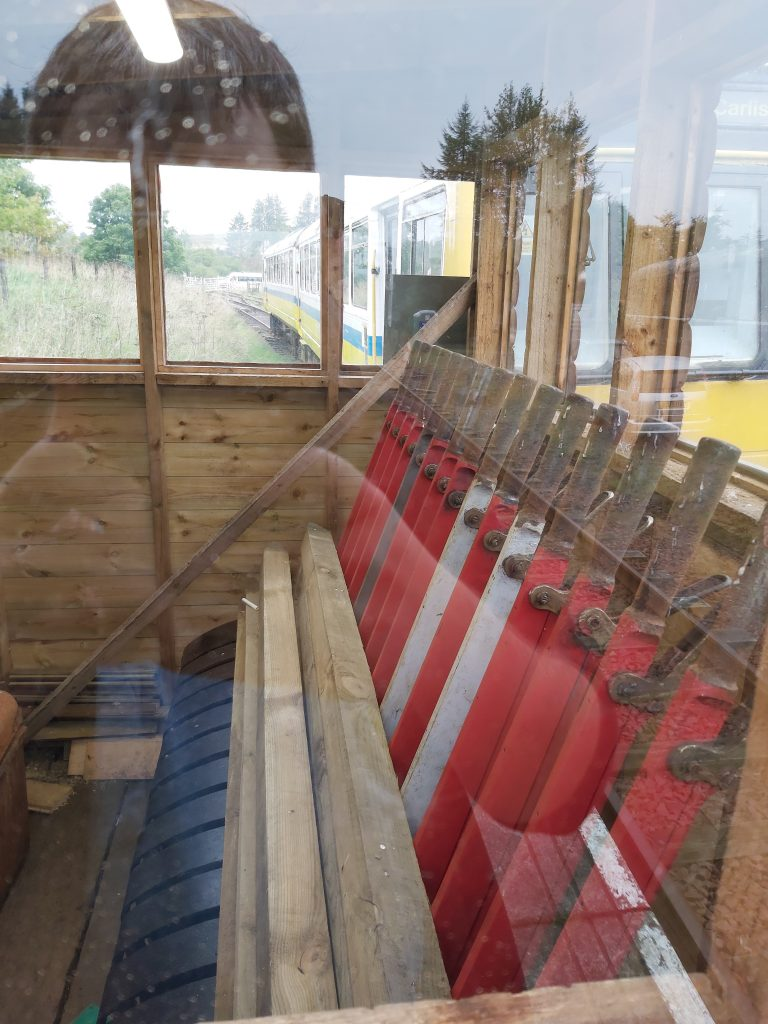 Inside of signal box with levers.