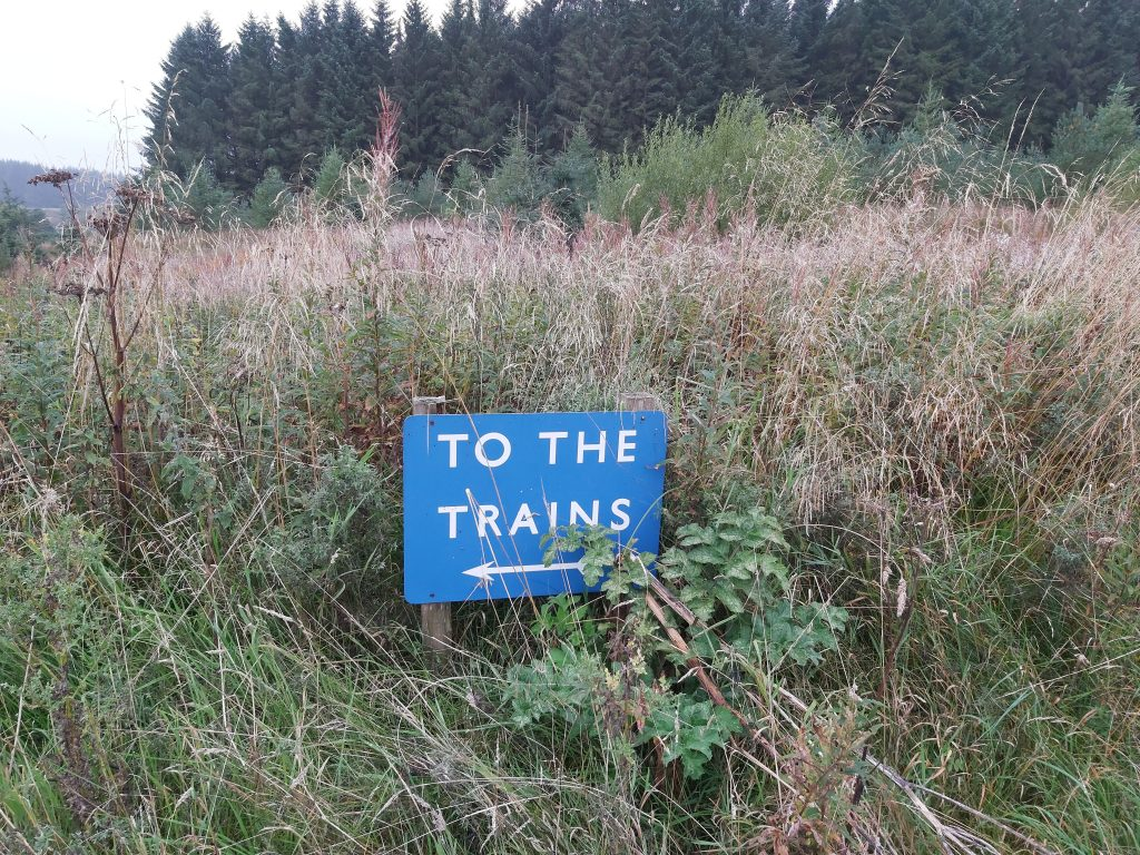 """Sign saying """"To The Trains""""."""