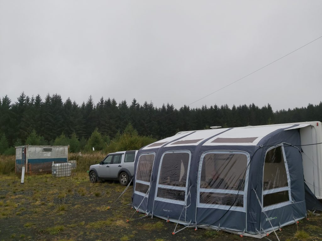 Station caravan and awning.